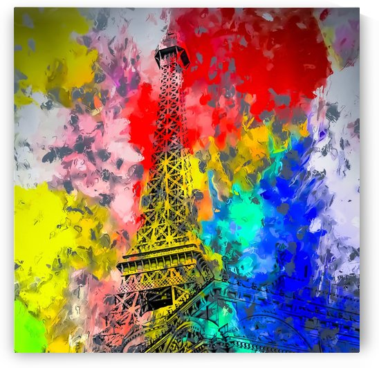 Eiffel Tower at Paris hotel and casino, Las Vegas, USA,with red blue yellow painting abstract background by TimmyLA