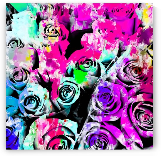 rose texture with pink purple blue green painting abstract background by TimmyLA