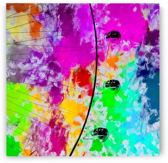ferris wheel with pink blue green red yellow painting abstract background by TimmyLA