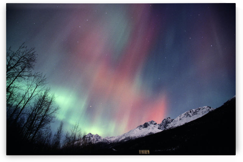 Multi Colored Northern Lights (Aurora Borealis) Fill The Night Sky Off The Old Glen Highway Near Palmer, Southcentral Alaska, Winter by PacificStock