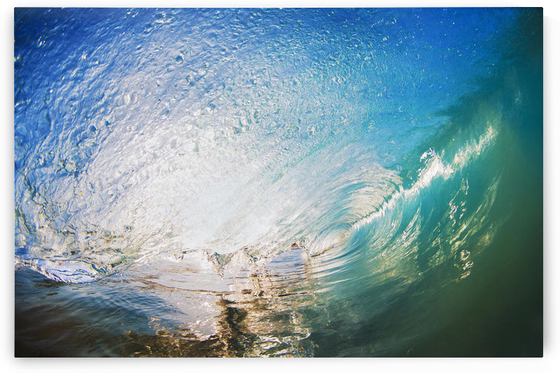 Hawaii, Maui, Makena, Beautiful blue wave breaking at the beach. by PacificStock