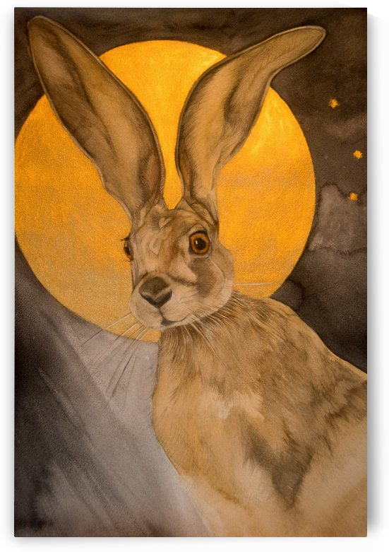 Golden Moon Hare by Watercolour Soul