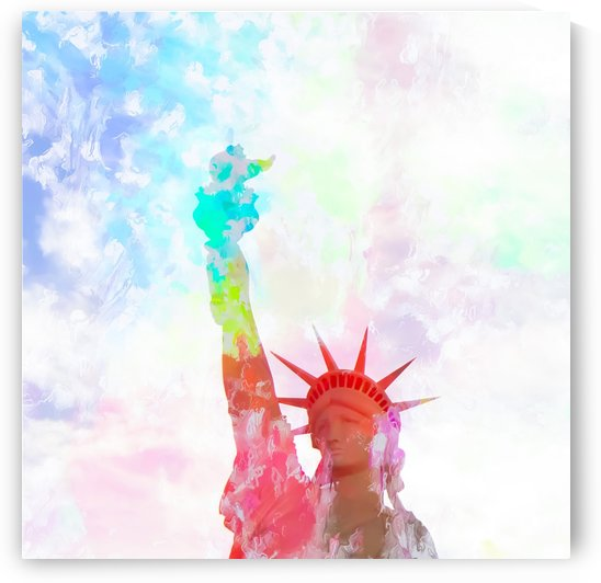 Statue of Liberty with colorful painting abstract background in red pink blue yellow by TimmyLA