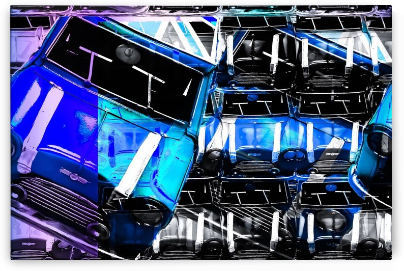 psychedelic Mini Cooper blue sport car abstract background by TimmyLA