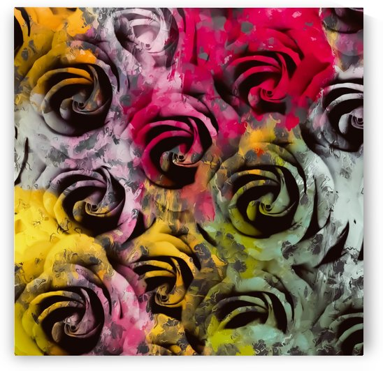 rose texture abstract  with red pink yellow painting abstract background by TimmyLA