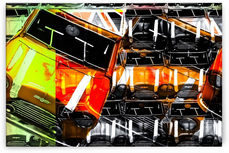 psychedelic Mini Cooper orange sport car abstract background by TimmyLA