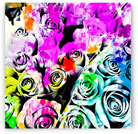 rose texture abstract  with colorful painting abstract background in pink blue green red yellow by TimmyLA