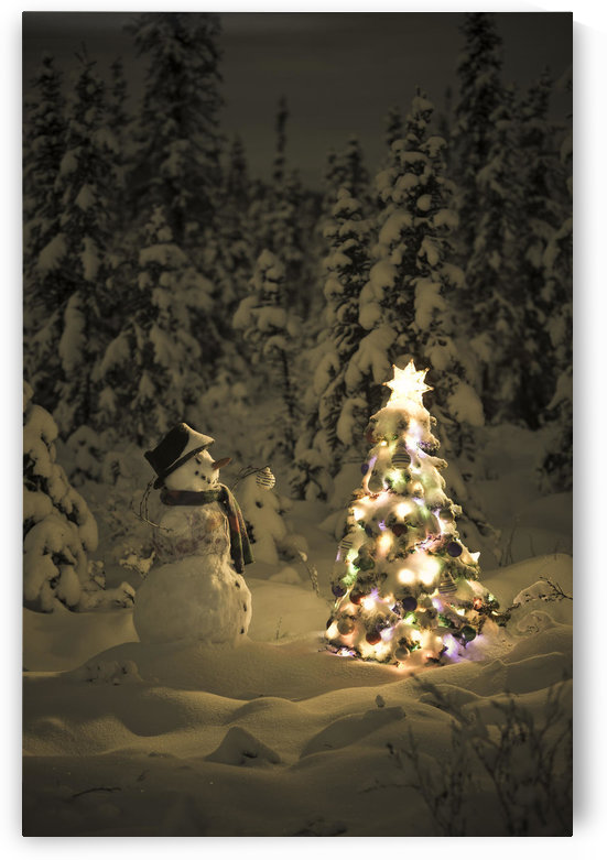 Snowman Stands In A Snowcovered Spruce Forest Next To A Decorated Christmas Tree In Wintertime by PacificStock