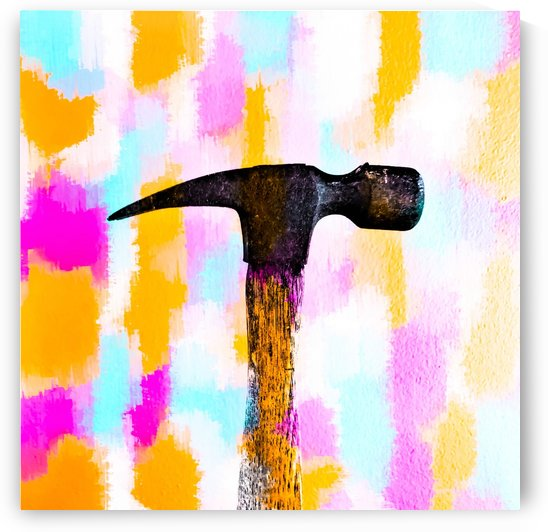 hammer with colorful painting abstract background in pink orange blue by TimmyLA
