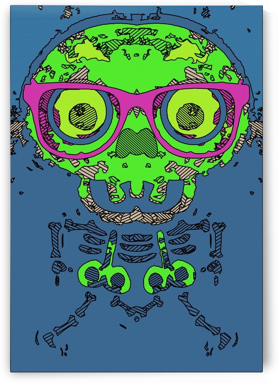 green funny skull art portrait with pink glasses and blue background by TimmyLA