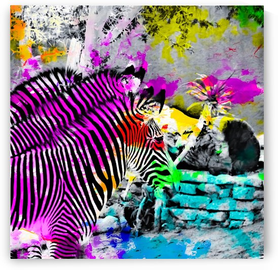 colorful zebra with painting texture abstract in pink yellow blue green by TimmyLA