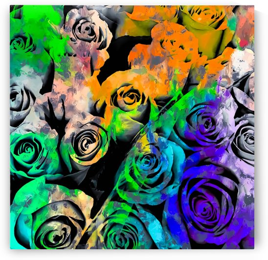 rose texture pattern abstract with splash painting in orange green blue purple by TimmyLA