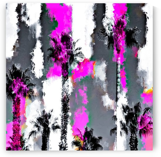 palm tree with splash painting texture abstract background in pink and black by TimmyLA