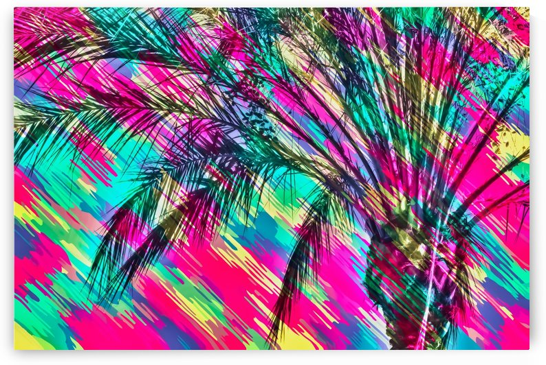 palm tree with colorful abstract background in pink green yellow blue by TimmyLA