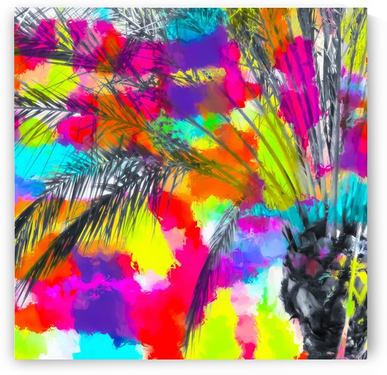 palm tree with splash painting abstract background in red pink yellow blue by TimmyLA