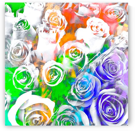rose texture pattern abstract with splash painting in blue green orange by TimmyLA