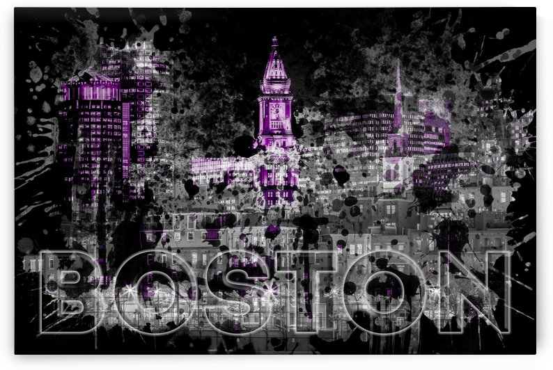 Pop Art BOSTON Skyline | purple by Melanie Viola