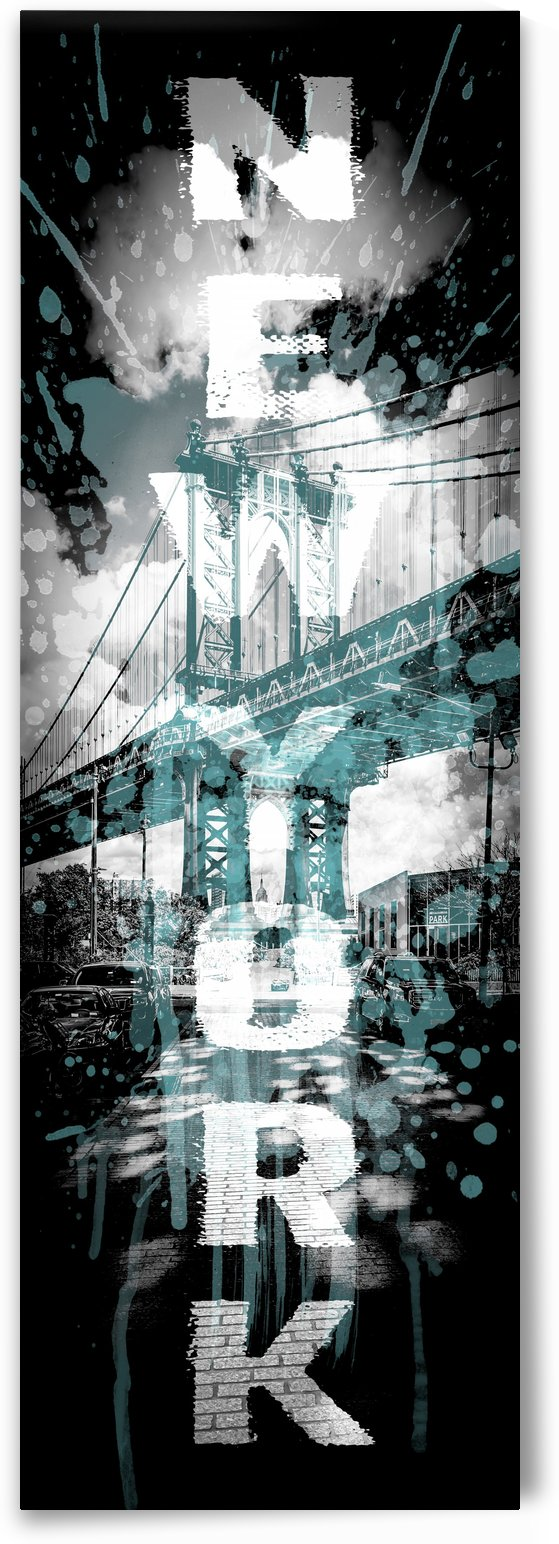 POP ART Manhattan Bridge | cyan | upright slim panorama by Melanie Viola