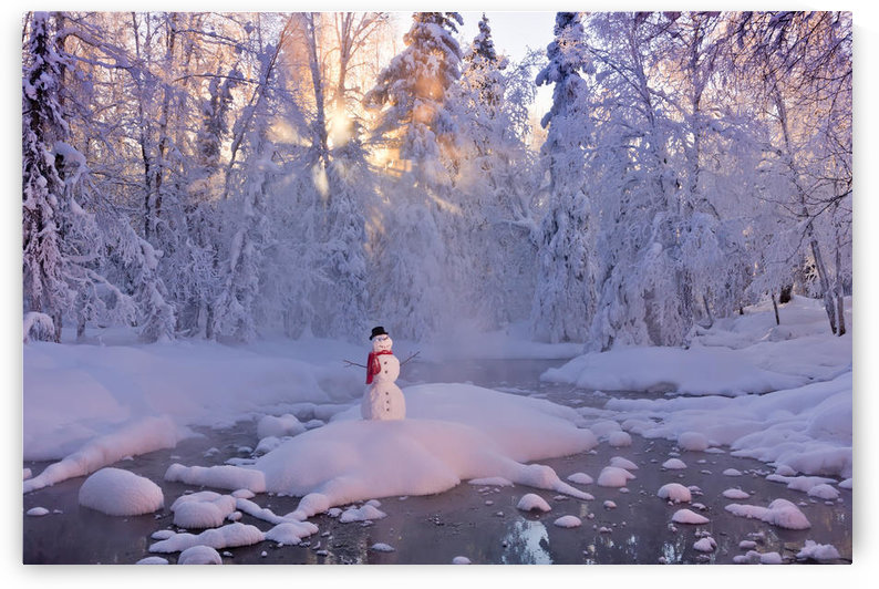 Snowman Standing On A Small Island In The Middle Of A Stream With Sunrays Shining Through Fog And Hoar Frosted Trees In The Background, Russian Jack Springs Park, Anchorage, Southcentral Alaska, Winter. Digitally Enhanced. by PacificStock