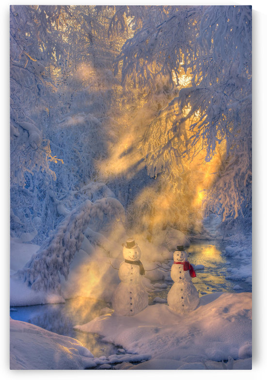 Snowman Couple Standing Next To A Stream With Sunrays Shining Through Fog And Hoar Frosted Trees In The Background, Russian Jack Springs Park, Anchorage, Southcentral Alaska, Winter. Digitally Enhanced. by PacificStock