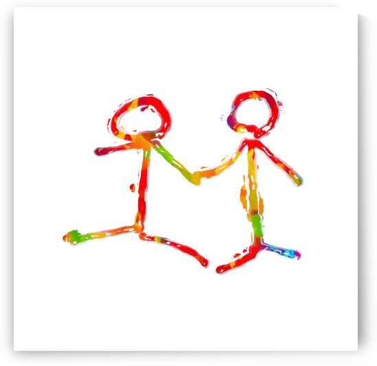 happy couple holding hands in red yellow blue green by TimmyLA