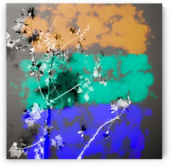 tree branch with leaf and painting abstract background in brown blue green black by TimmyLA
