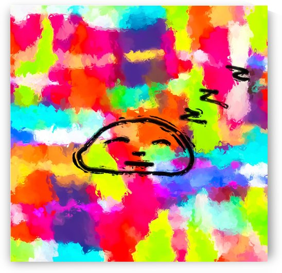 sleeping cartoon face with painting abstract background in red pink yellow blue orange by TimmyLA