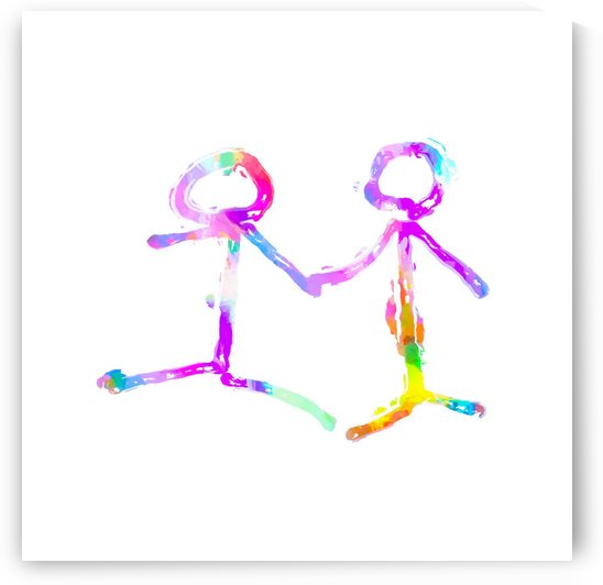 happy couple holding hands in pink purple yellow blue green by TimmyLA