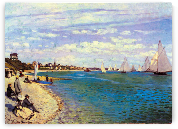 The Beach at Sainte Adresse by Monet by Monet