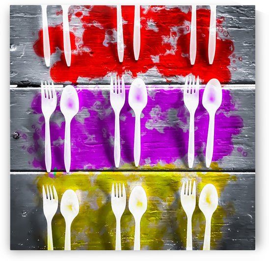 fork and spoon with splash painting texture abstract background in pink red yellow by TimmyLA