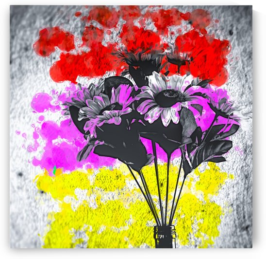 flower with colorful painting abstract background in red pink yellow by TimmyLA
