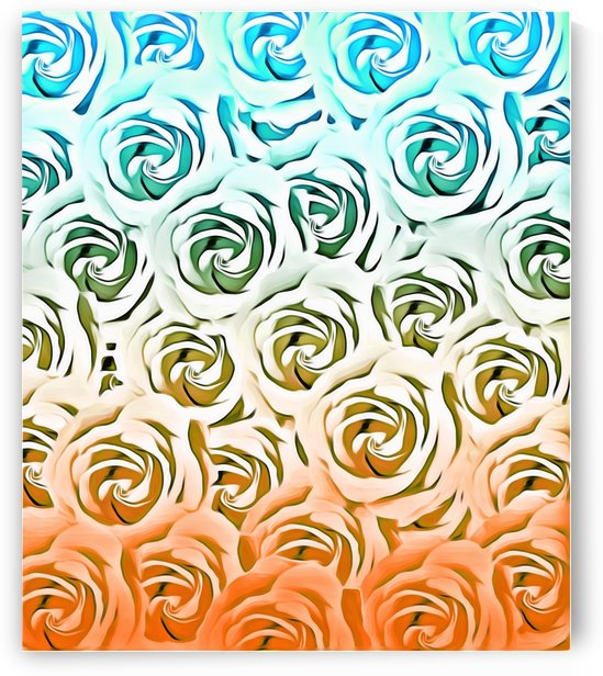 blooming rose pattern texture abstract background in blue and pink by TimmyLA