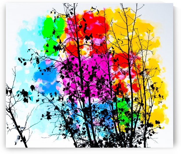 tree branch with splash painting texture abstract background in pink blue red yellow green by TimmyLA