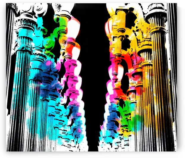 Urban light and LACMA, USA with colorful painting abstract in blue pink green red yellow by TimmyLA