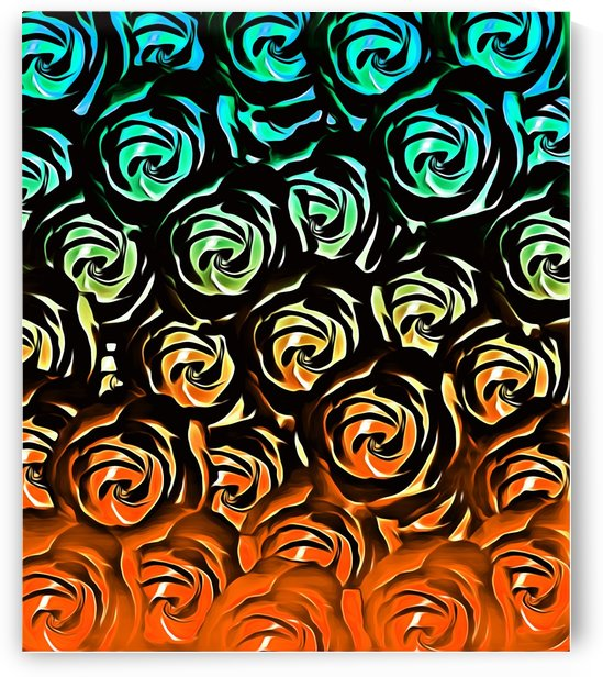 rose pattern texture abstract background in blue green orange by TimmyLA