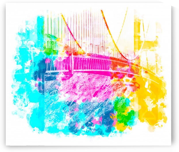 closeup Golden Gate bridge, San Francisco, USA with colorful painting abstract background  by TimmyLA