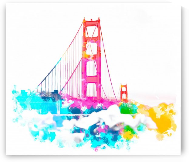 Golden Gate bridge, San Francisco, USA with colorful painting abstract in pink blue yellow by TimmyLA