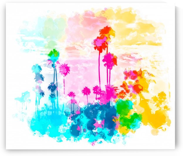 palm tree wth colorful painting abstract background in pink blue green red yellow by TimmyLA