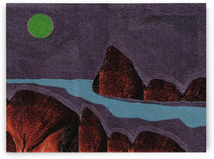 Riverscape with Moon  0614 by Otto Graser Visual Artist
