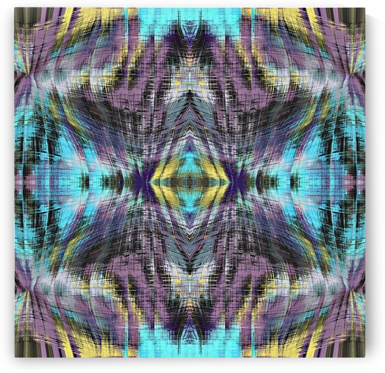psychedelic geometric symmetry abstract pattern in purple blue yellow by TimmyLA