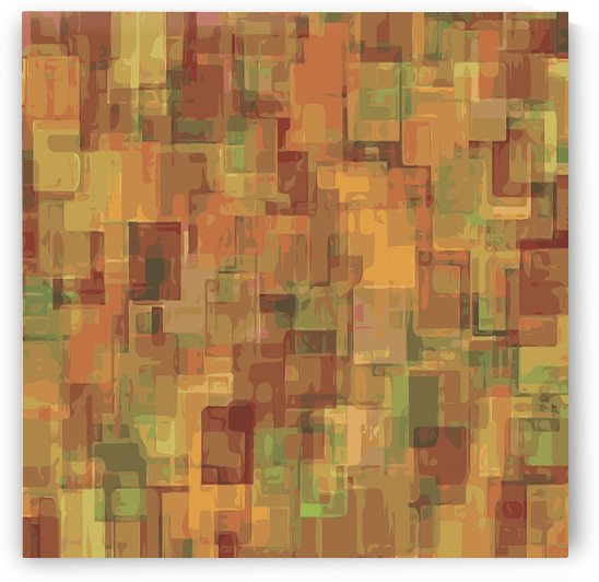 vintage psychedelic geometric square pattern abstract in brown and green by TimmyLA