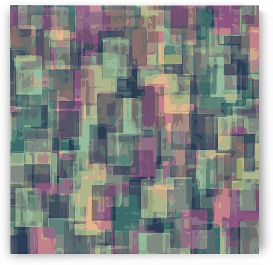 psychedelic geometric square pattern abstract in pink and green by TimmyLA