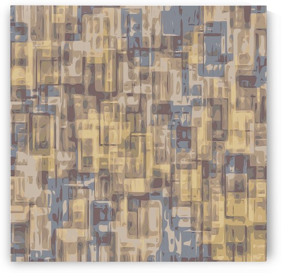 psychedelic geometric square pattern abstract in brown yellow and blue by TimmyLA