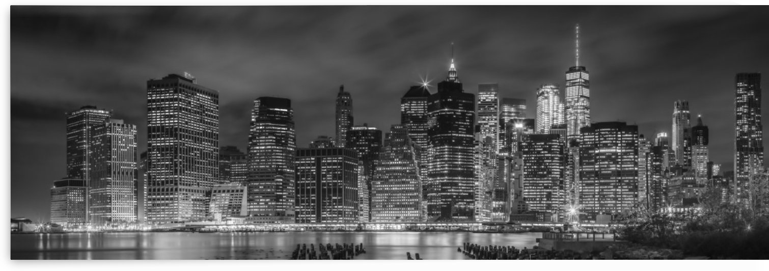 NEW YORK CITY Night Skyline | Panoramic by Melanie Viola