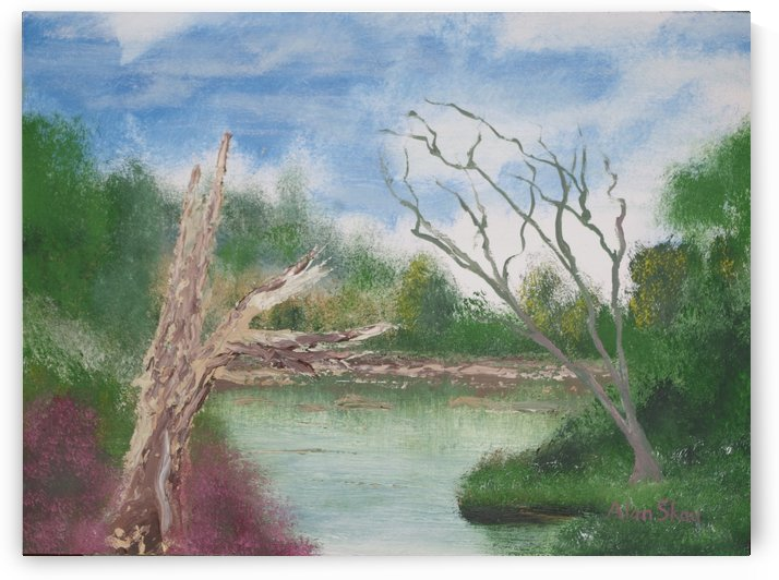 Dead trees by the pond. by Alan Skau