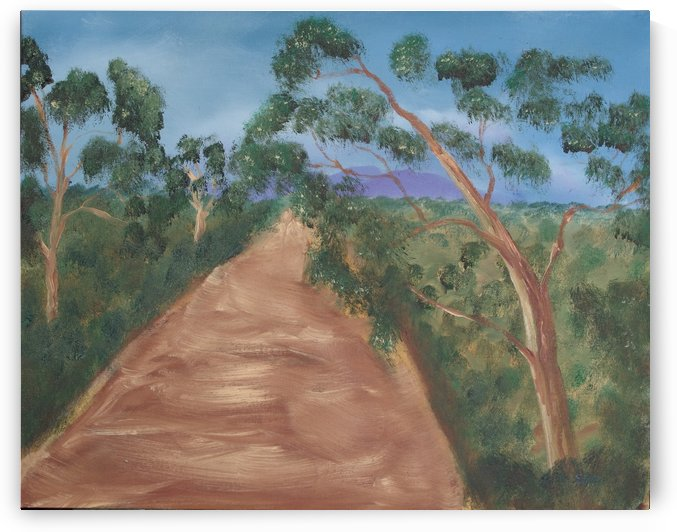 Gum trees along a dirt road. by Alan Skau