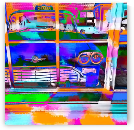 blue classic taxi car with painting abstract in green pink orange  blue by TimmyLA