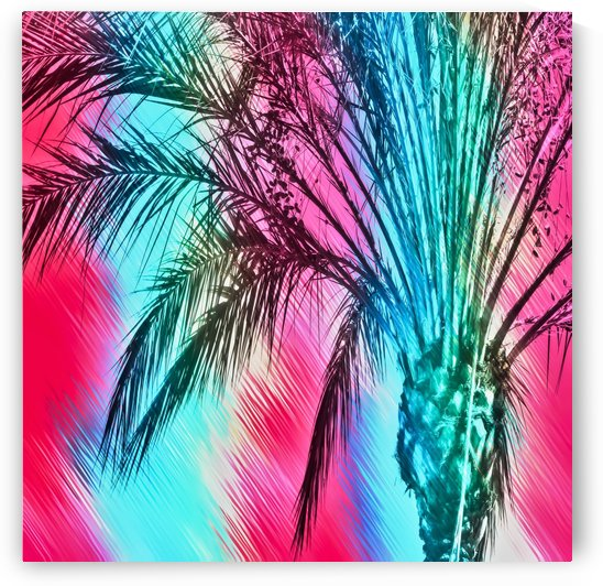 isolate palm tree with painting abstract background in pink and blue by TimmyLA