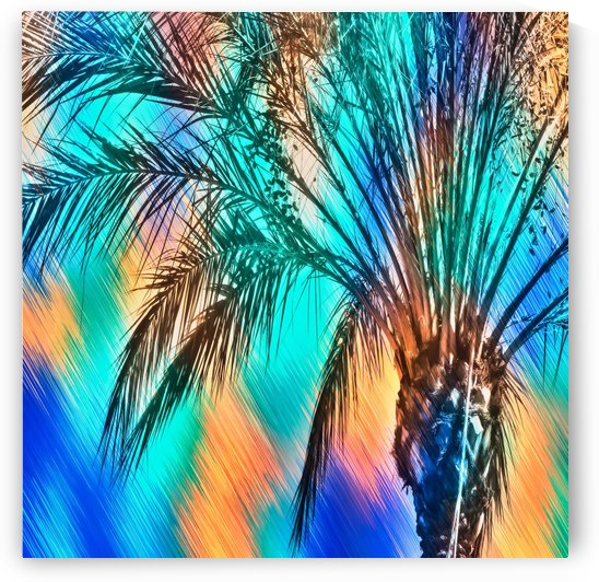 isolate palm tree with painting abstract background in green blue orange by TimmyLA