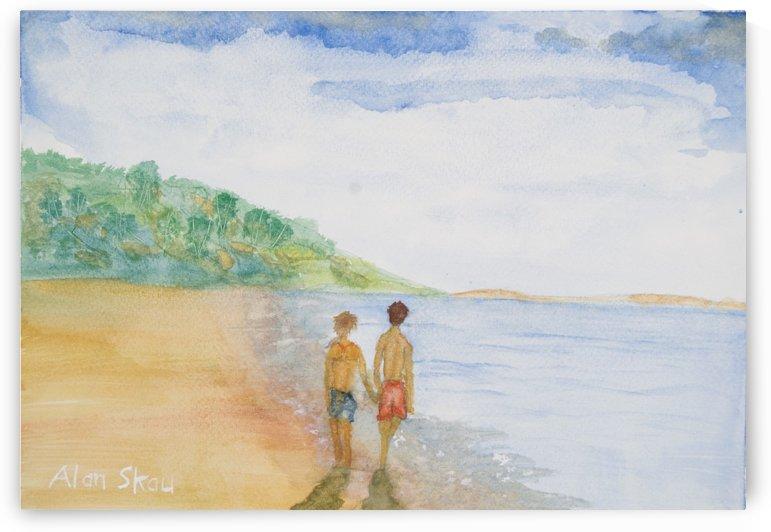 Couple beachwalking. by Alan Skau